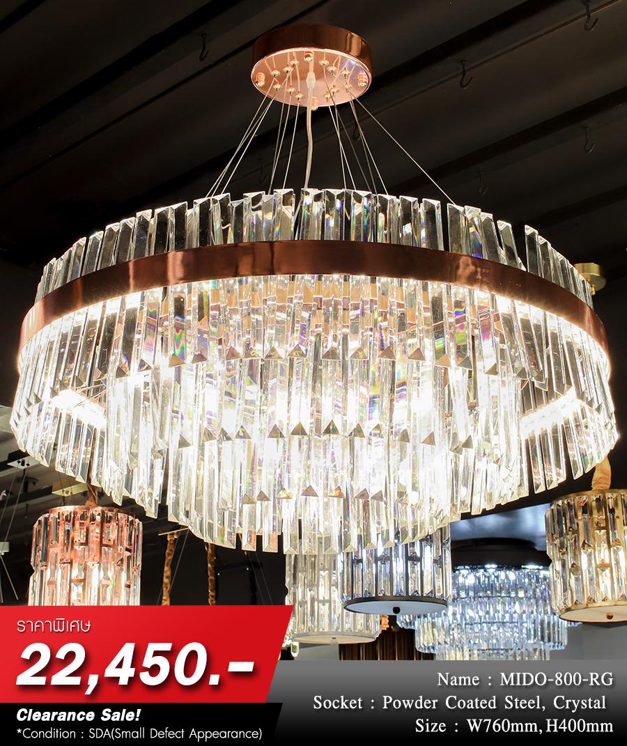 โคมไฟระย้า โคมไฟคริสตัล CRYSTAL โคมไฟแชนเดอเรีย Chandelier MIDO-800-RG