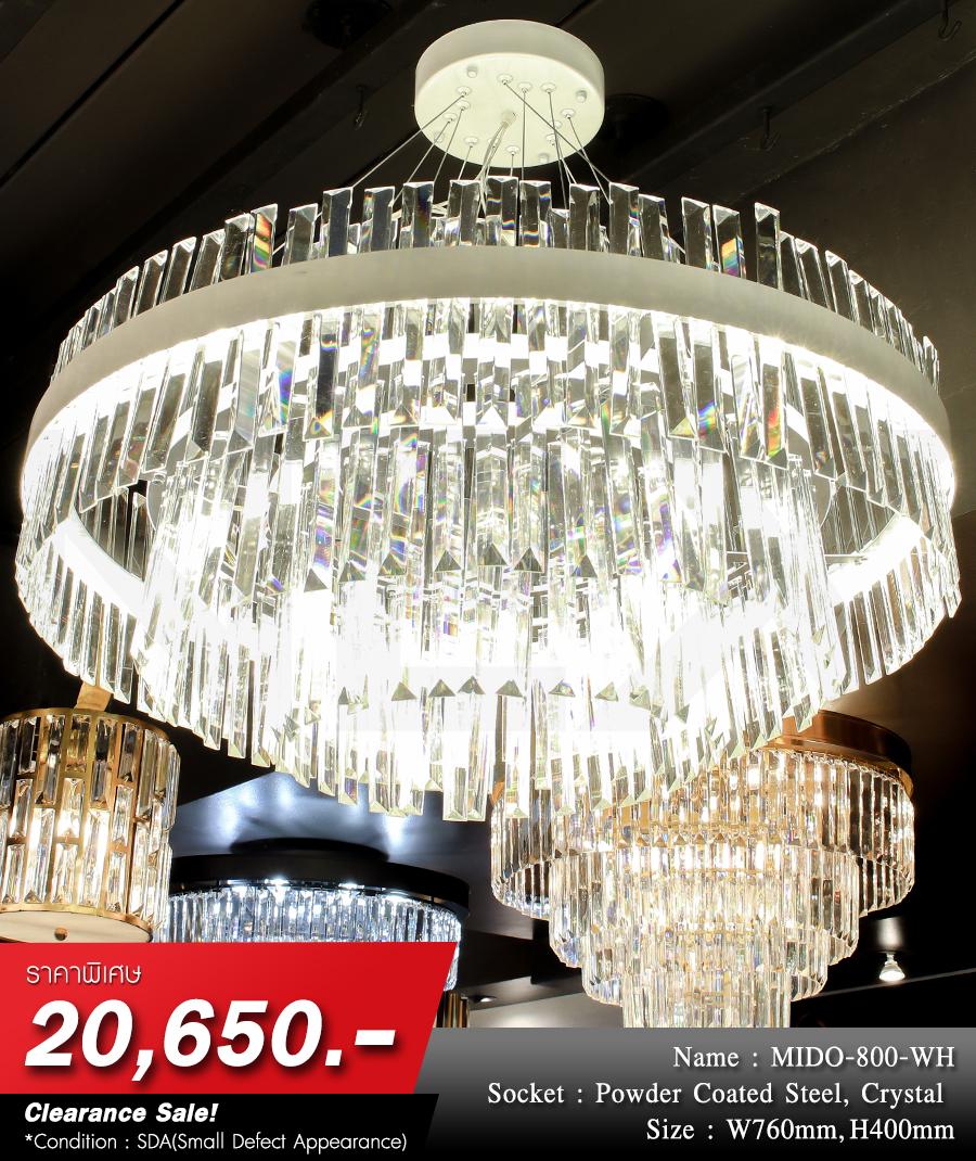 โคมไฟระย้า โคมไฟคริสตัล CRYSTAL โคมไฟแชนเดอเรีย Chandelier MIDO-800-WH