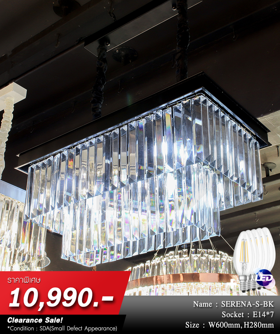 โคมไฟระย้า โคมไฟคริสตัล CRYSTAL โคมไฟแชนเดอเรีย Chandelier SERENA-S-BK