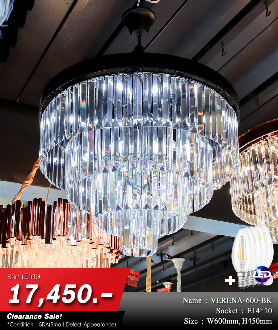 โคมไฟระย้า โคมไฟคริสตัล CRYSTAL โคมไฟแชนเดอเรีย Chandelier VERENA-600-BK